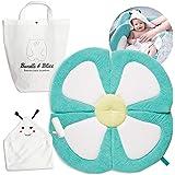 Organic Bamboo Baby Bath Flower Sink Insert Giftable 4PC Set   Baby Sink Bath Cushion, Bee Towel & Washcloth   Flower Baby Ba