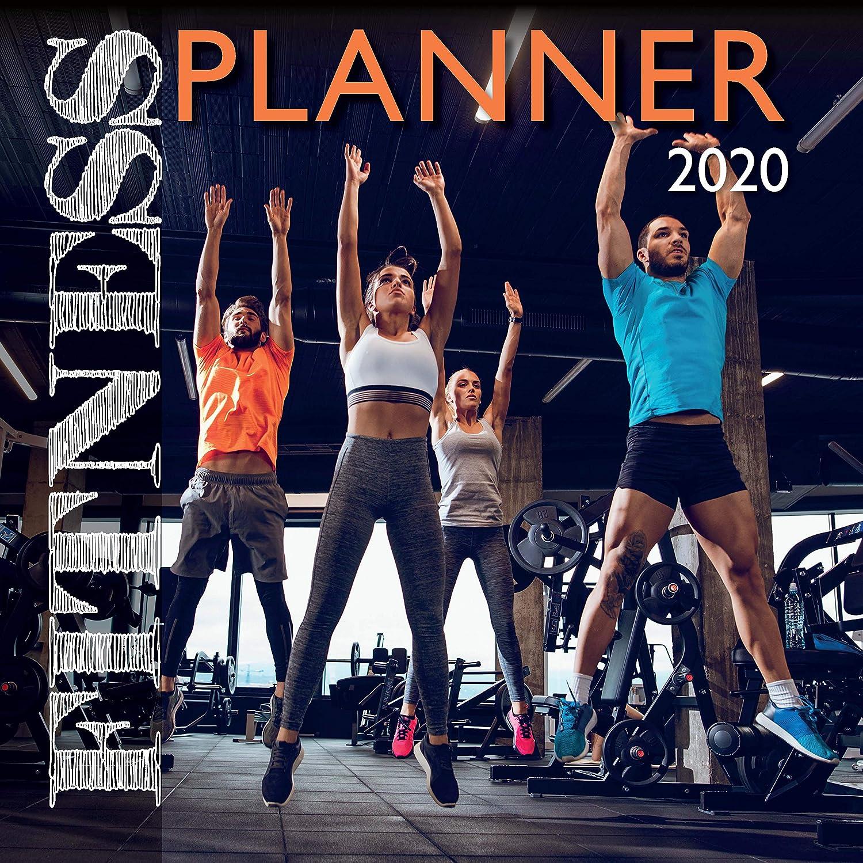 2020 壁掛けカレンダー フィットネスプランナー 2020 12 x 12インチ 月間表示 16ヶ月 180リマインダーステッカー付き