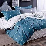 Topmail Copripiumino matrimoniale king 240x220cm con 2 federa 65x65cm set 3 pezzi biancheria da letto in cotone 200TC