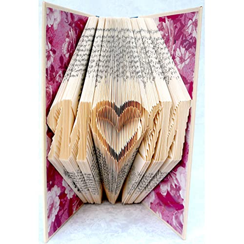 Hand Folded Book Art Sculpture, M Heart M, Handcrafted Birthday Christmas Mother s Day Gift for Mom