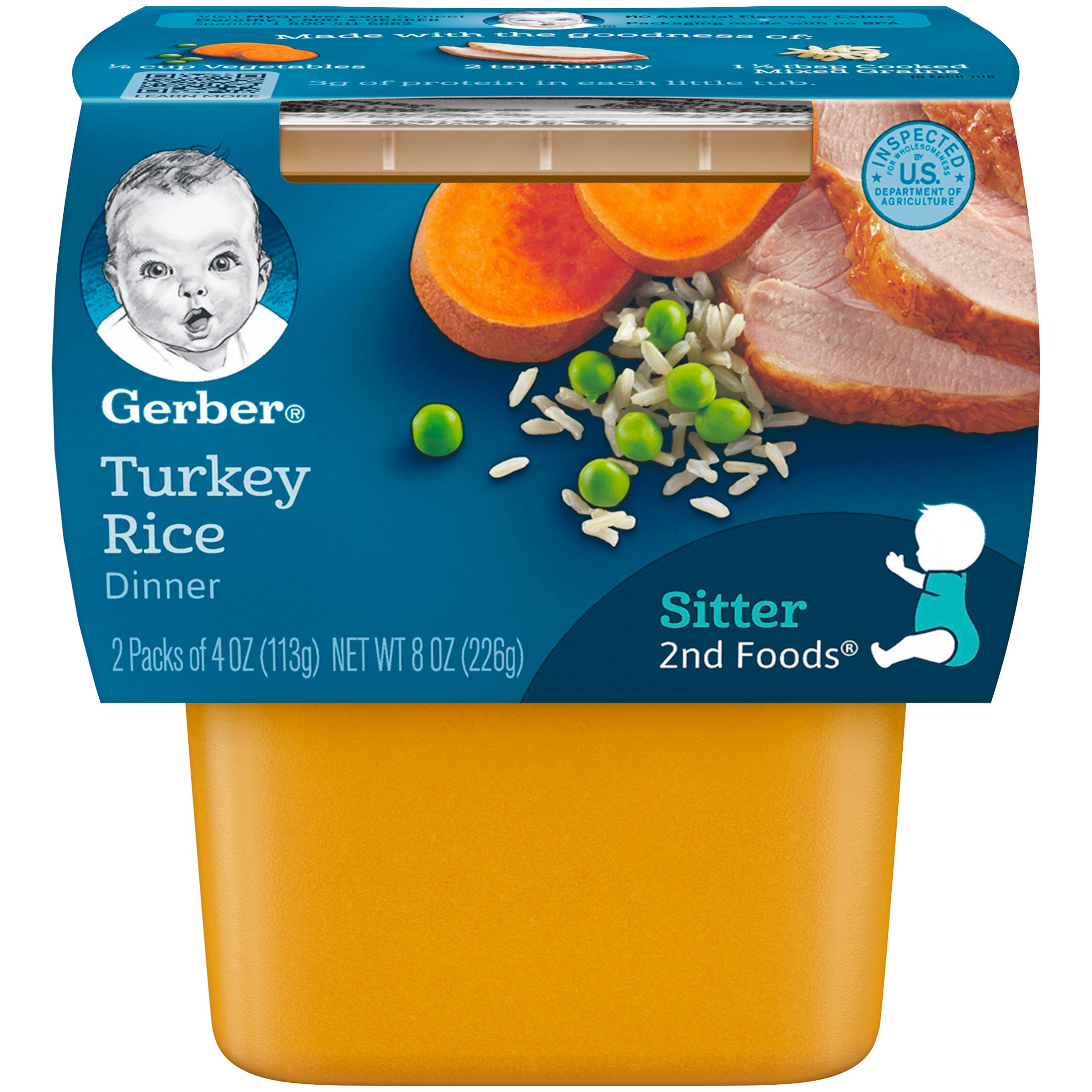 Gerber 2nd Foods Turkey & Rice, 4 Ounce Tubs, 2 Count (Pack of 8) by GERBER