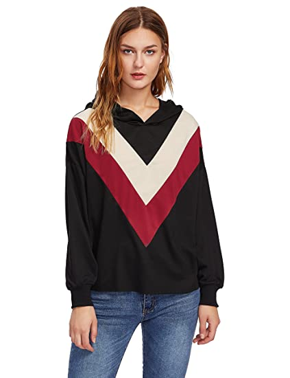 c7f595924a8 Romwe Women s Chevron Striped V Print Hooded Sweatshirt Long Sleeve Color  Block Hoodie Top Sweater Black