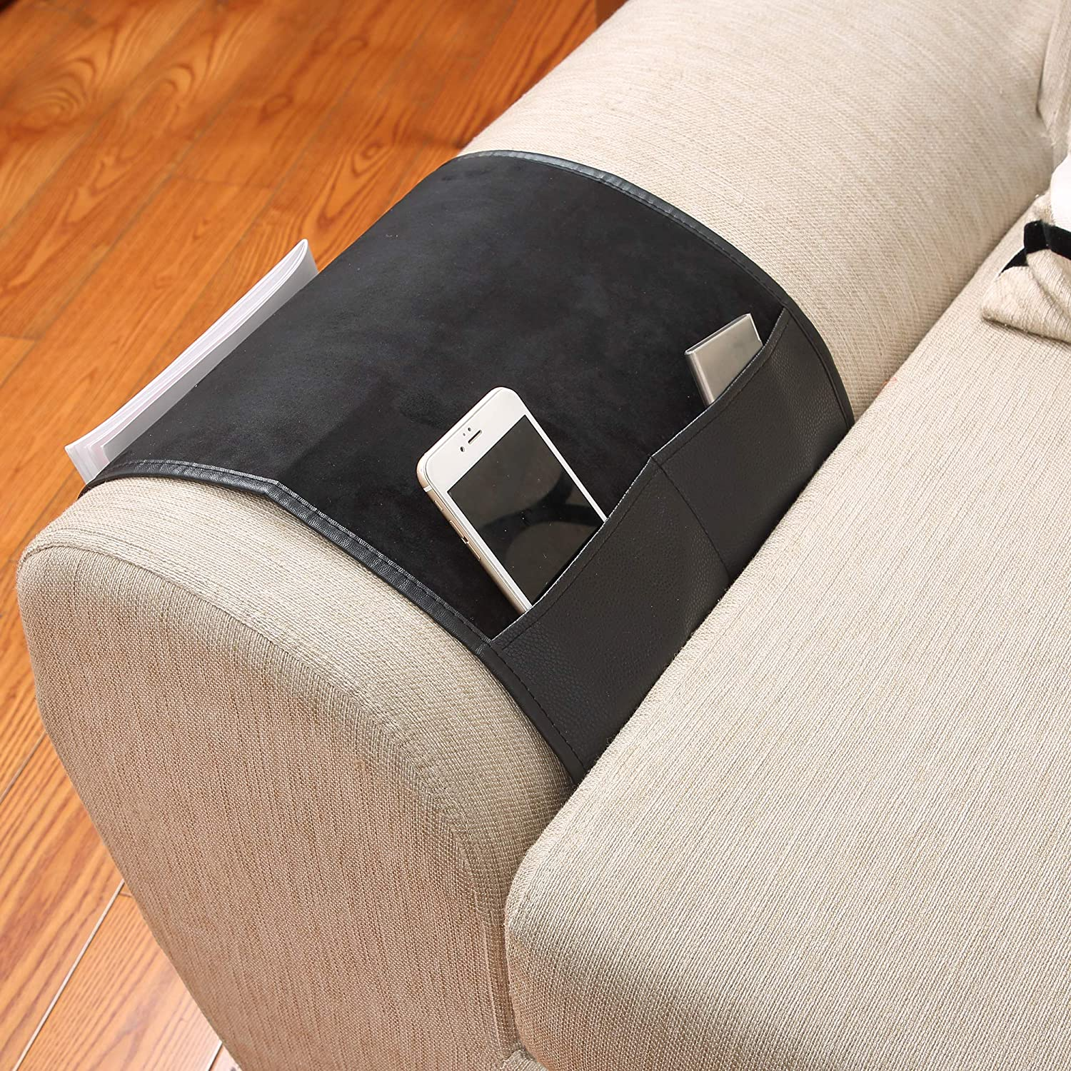 Book Magazines Khaki PUTING Non-Slip Space Saver Sofa Couch Armrest Organizer TV Remote Control Holder Fits for Phone