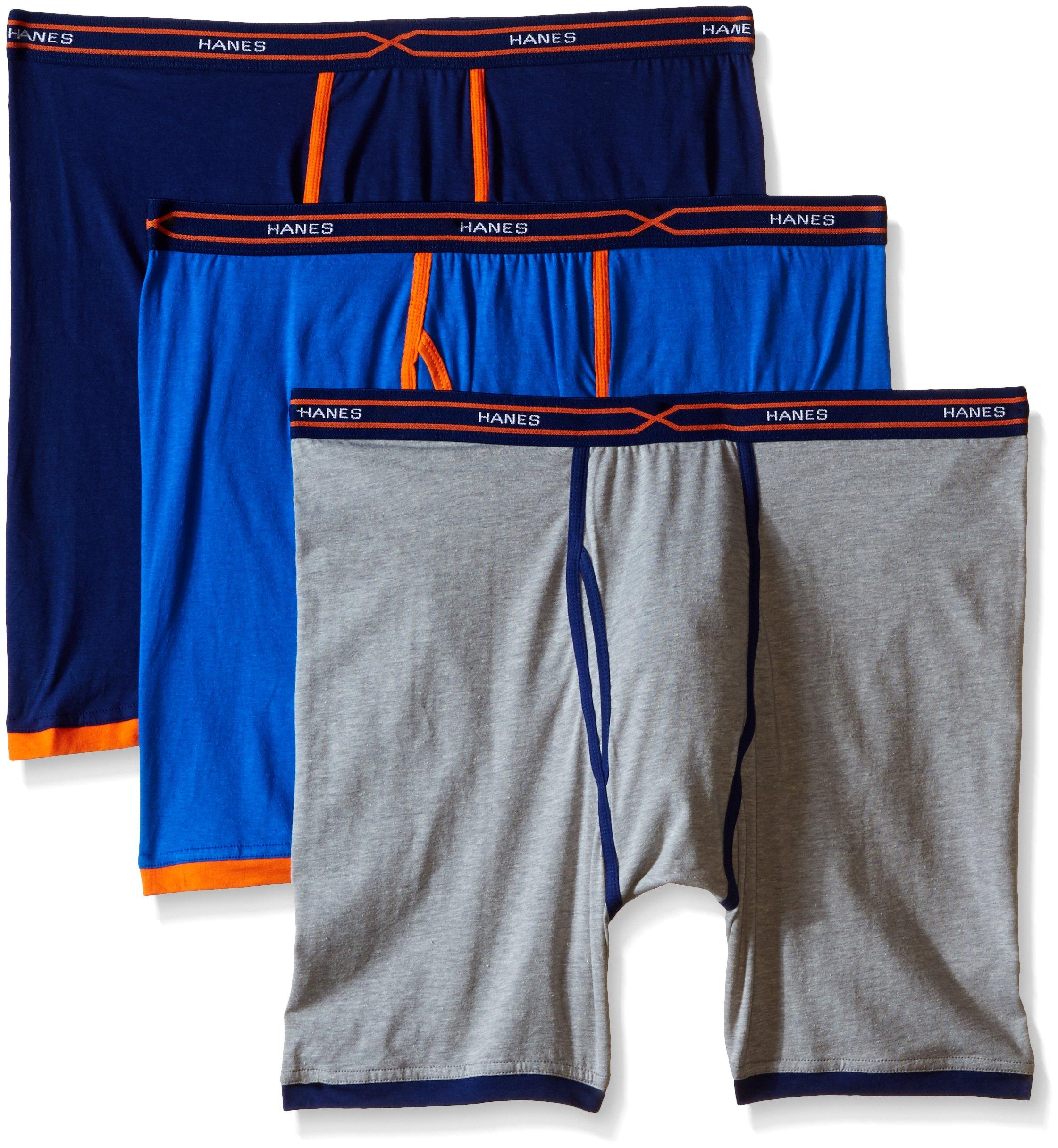 Hanes Men's 3-Pack X-Temp Active Cool Long Leg Boxer Brief, Assorted, Medium