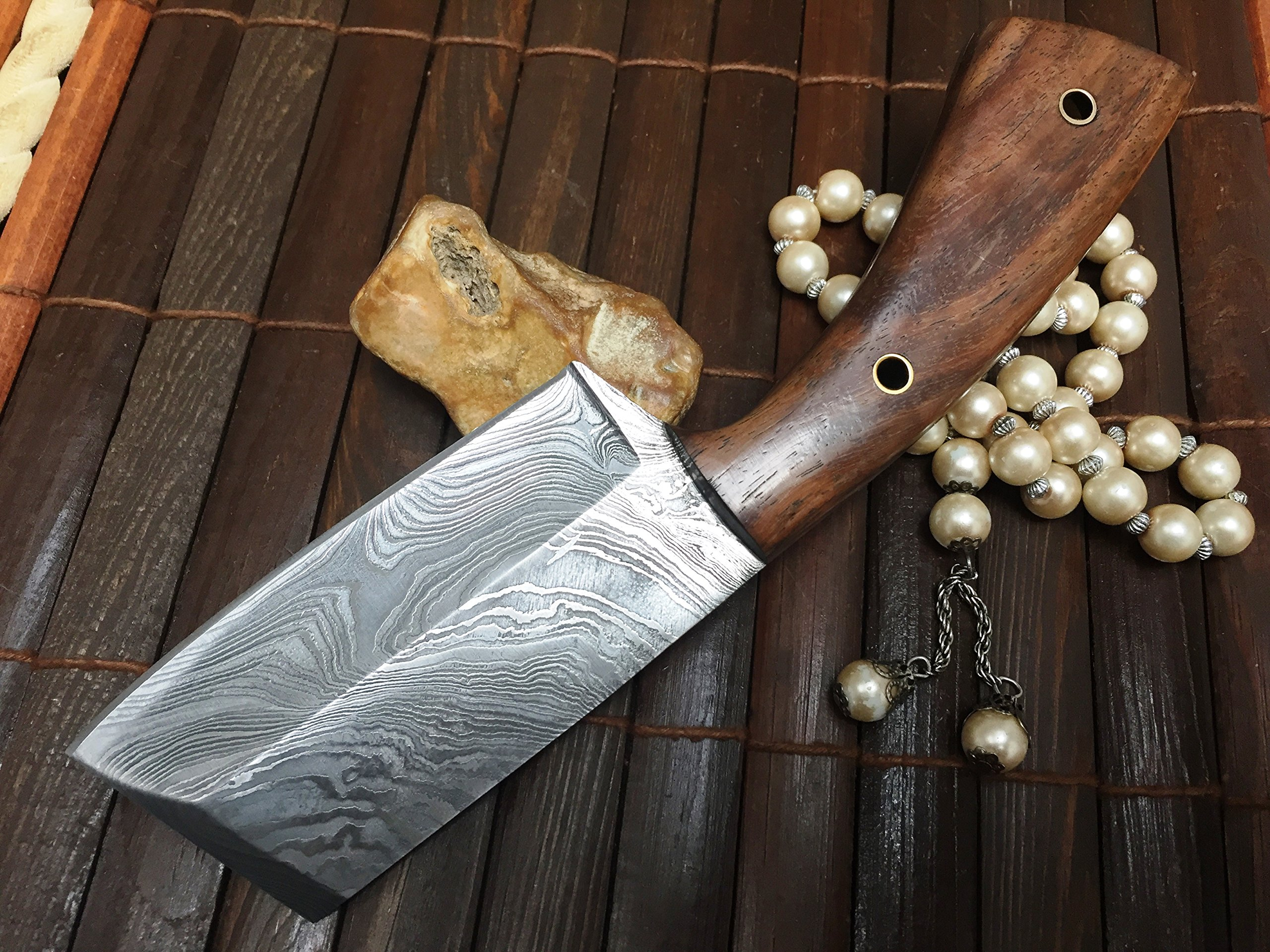 Damascus Steel Hunting Knife Damascus Chef Knife with Sheath by Perkin (Image #4)