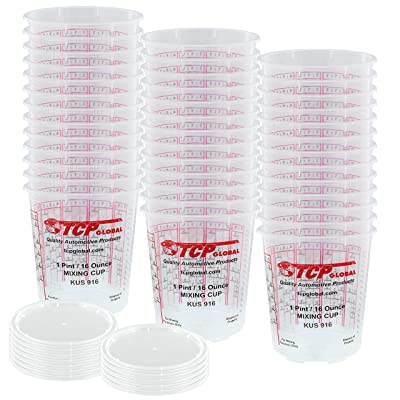 Custom Shop - Pack of 36 Each - 16 Ounce Graduated Paint Mixing Cups - Cups are Calibrated with Multiple Mixing Ratios - Also Includes 12 Lids: Kitchen & Dining
