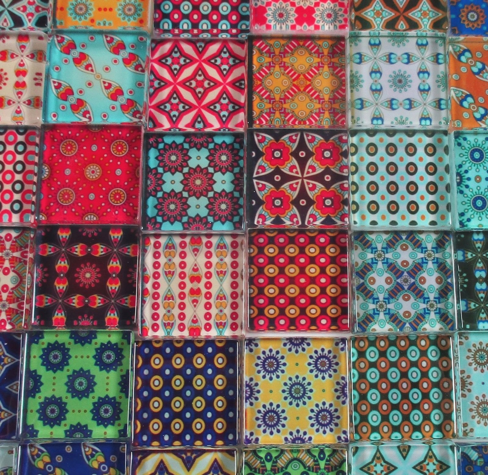 Glass Mosaic Tiles - Boho Gypsy Patchwork Mixed Designs Bright Colors 1'' Squares