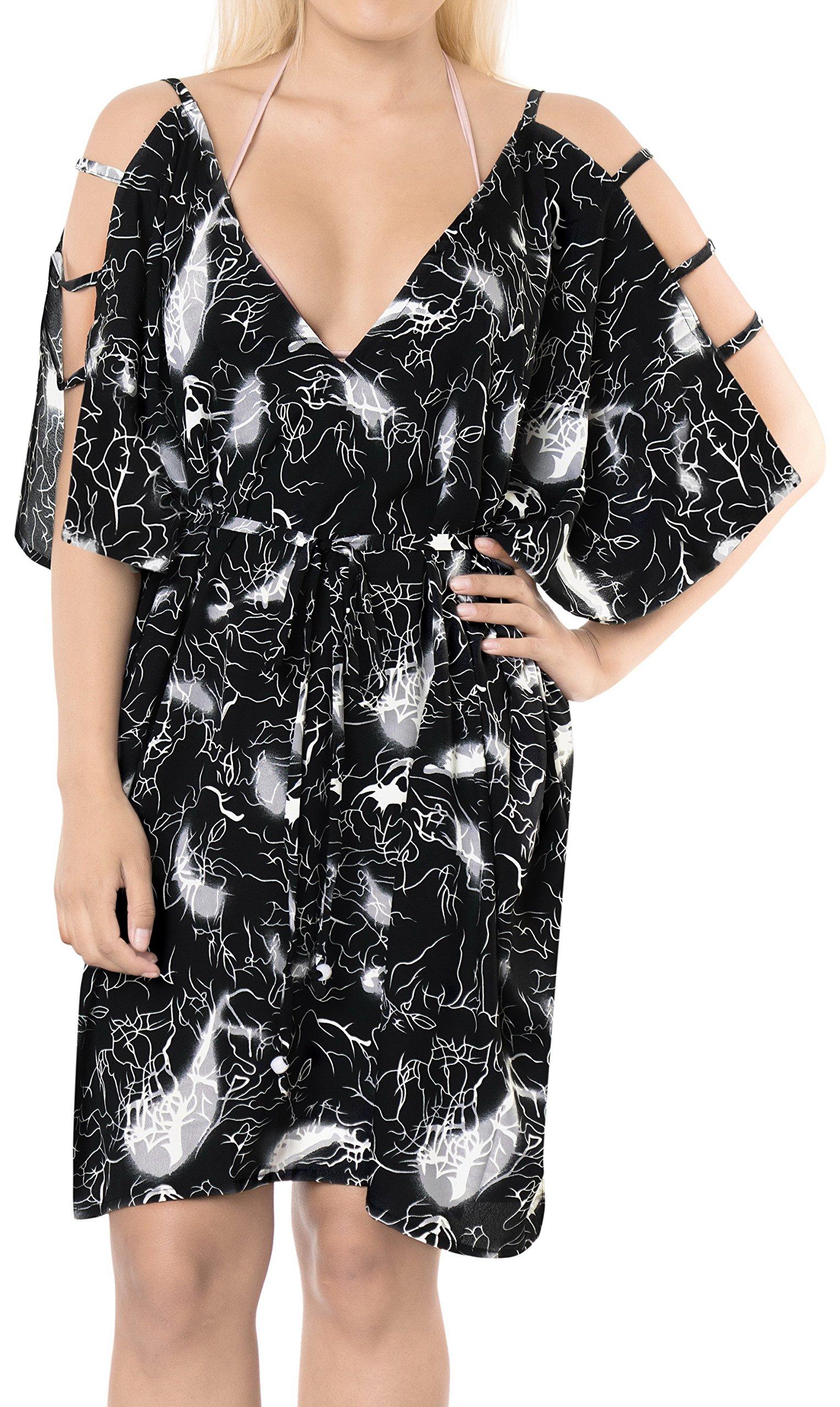 LA LEELA Soft fabric Printed Swimsuit Cover Up OSFM 16-20 [XL-2X] Black_6609