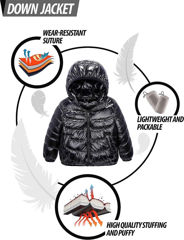 Lightweight//Water-Resistant Spring Hood Coat IKALI Boy Girl Packable Down Jackets