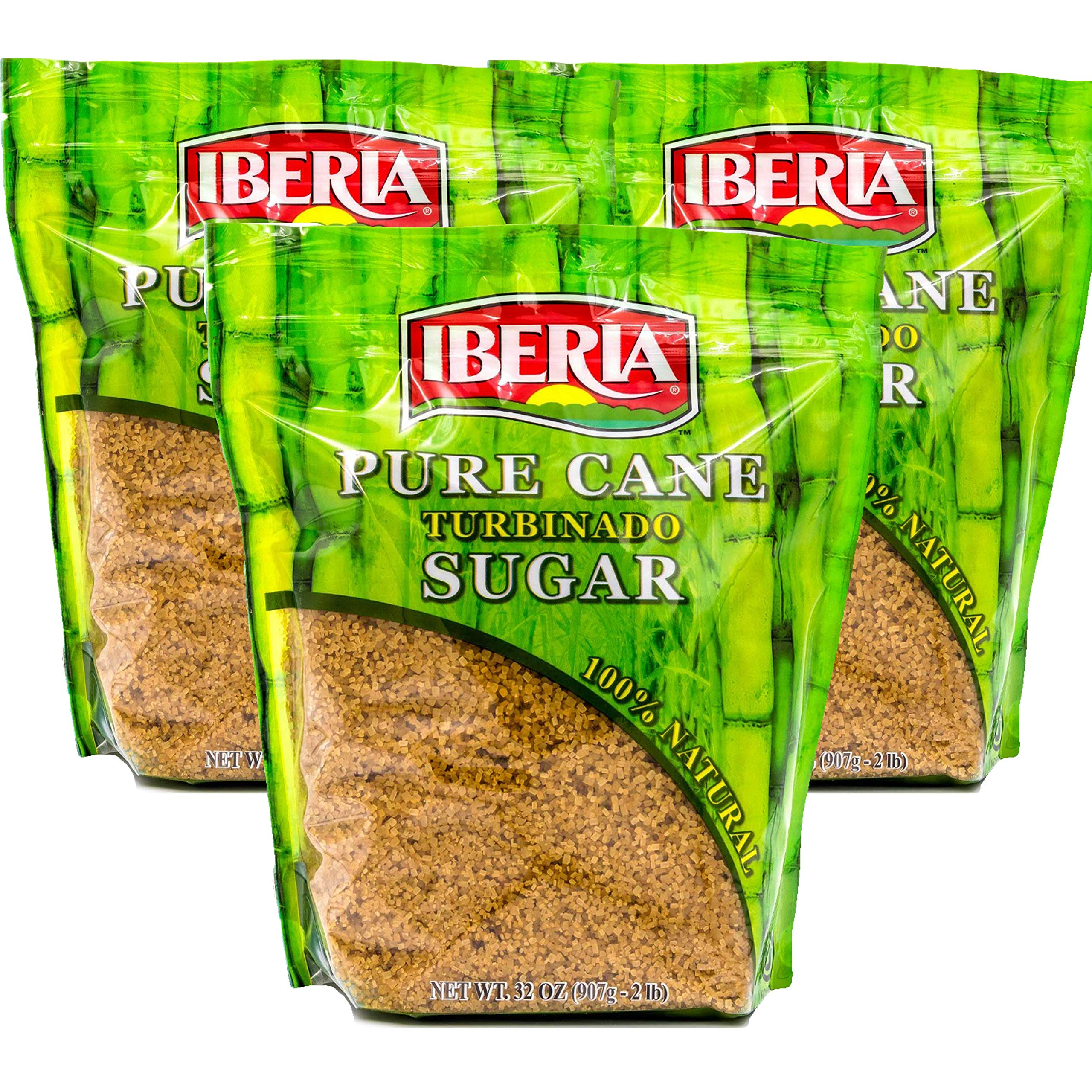 Iberia Turbinado Sugar 2 Lb. (Pack Of 03) Sparkling Golden Pure Raw Cane Turbinado Sugar Bulk, 3 Individual Resealable 2 Lb. Bags by IBERIA