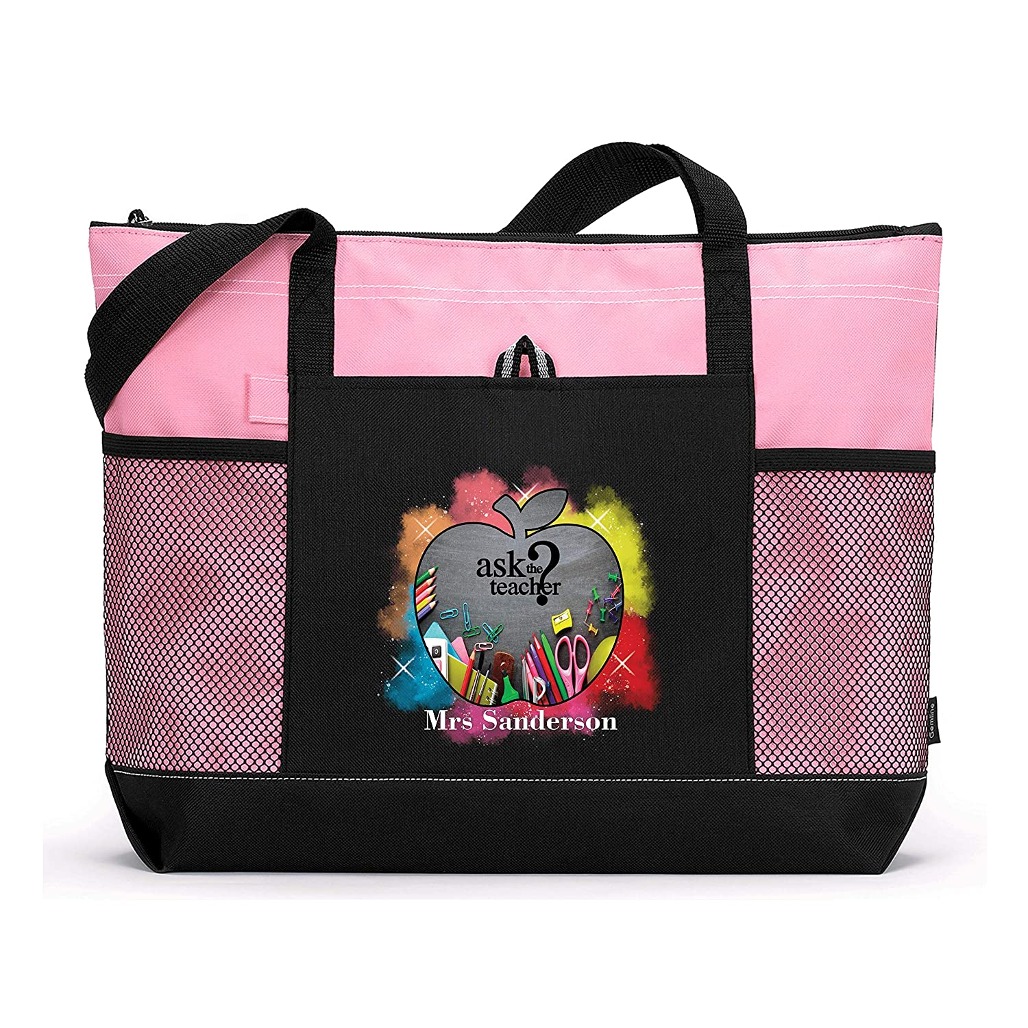 Ask the Teacher Personalized Printed Tote Bag with Mesh Pockets