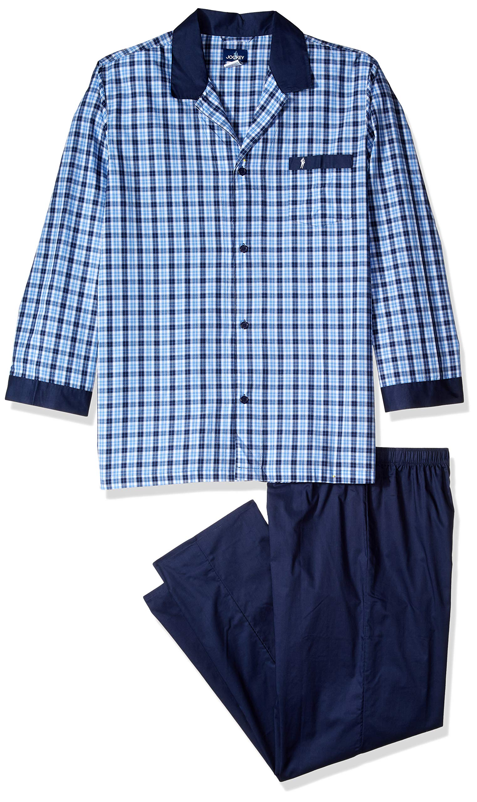 Jockey Men's Size Yarn-dye Woven Long Sleeve Pajama Set, Blue/White Plaid X-Large-Tall