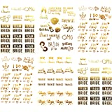 Bachelorettesy Team Bride and Bachelorette Metallic Tattoos - Over 100 Temporary Tattoo Designs in Gold and Silver (6 Sheets), Joy Collection