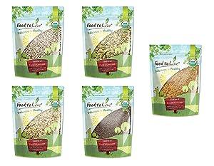 Organic Omega-3 Seeds in a Gift Box - A Variety Pack of Sunflower Seeds, Pumpkin Seeds, Chia Seeds, Golden Flax Seeds, and Hemp Seeds