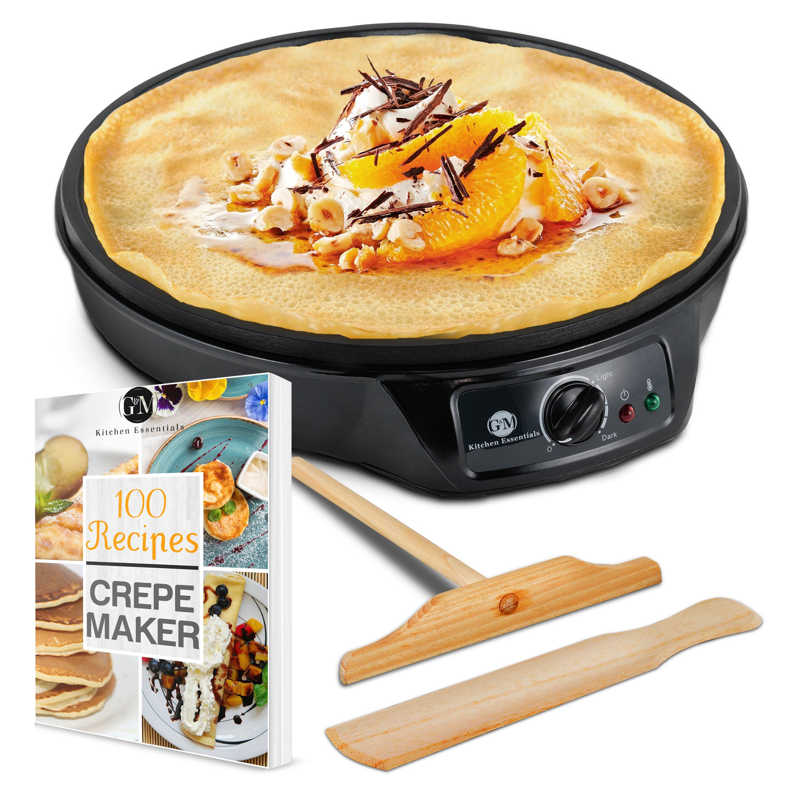 "Crepe Maker Machine Pancake Griddle – Nonstick 12"" Electric Griddle – BONUS 100 RECIPE COOKBOOK, Batter Spreader & Wooden Spatula – Pan for Roti, Tortilla, Blintzes – Portable, Compact, Easy Clean"