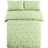 HONEYMOON HOME FASHIONS Printed Brushed Microfiber 3-Piece Duvet Cover Set,Full/Queen, Lime Green