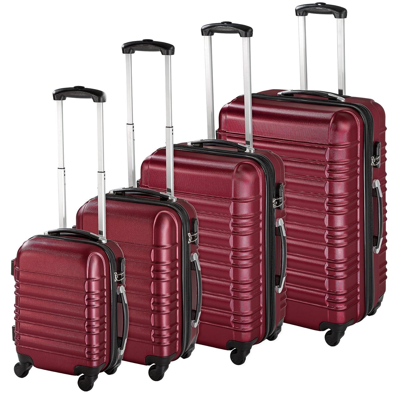 TecTake Set di 4 valigie ABS rigido trolley valigia bagaglio a mano borsa elegante - disponibile in diversi colori - (Argento | no. 402025) 800317