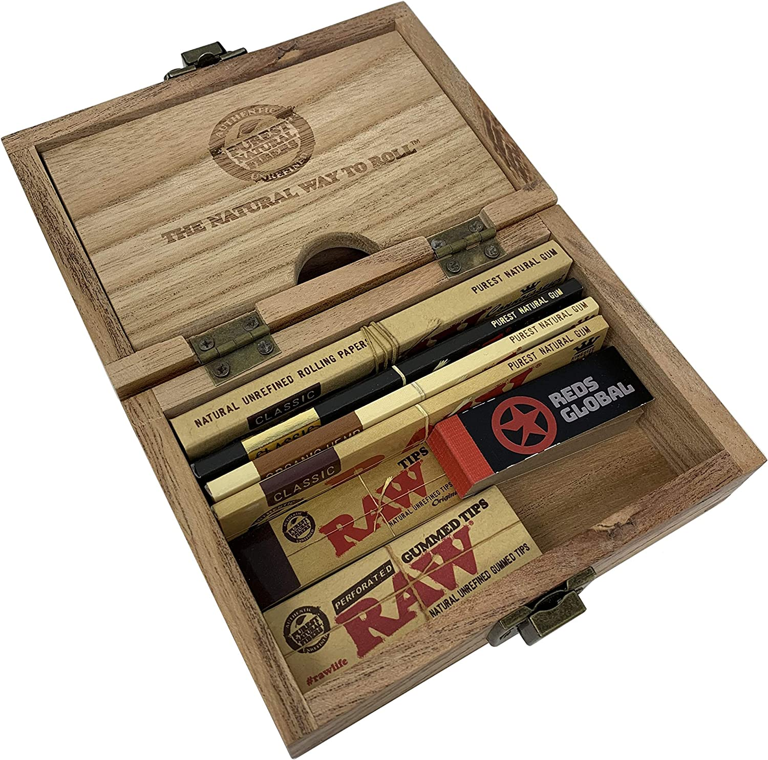 Reds Exclusivo Caja Madera RAW y RAW King Size Slim Papeles