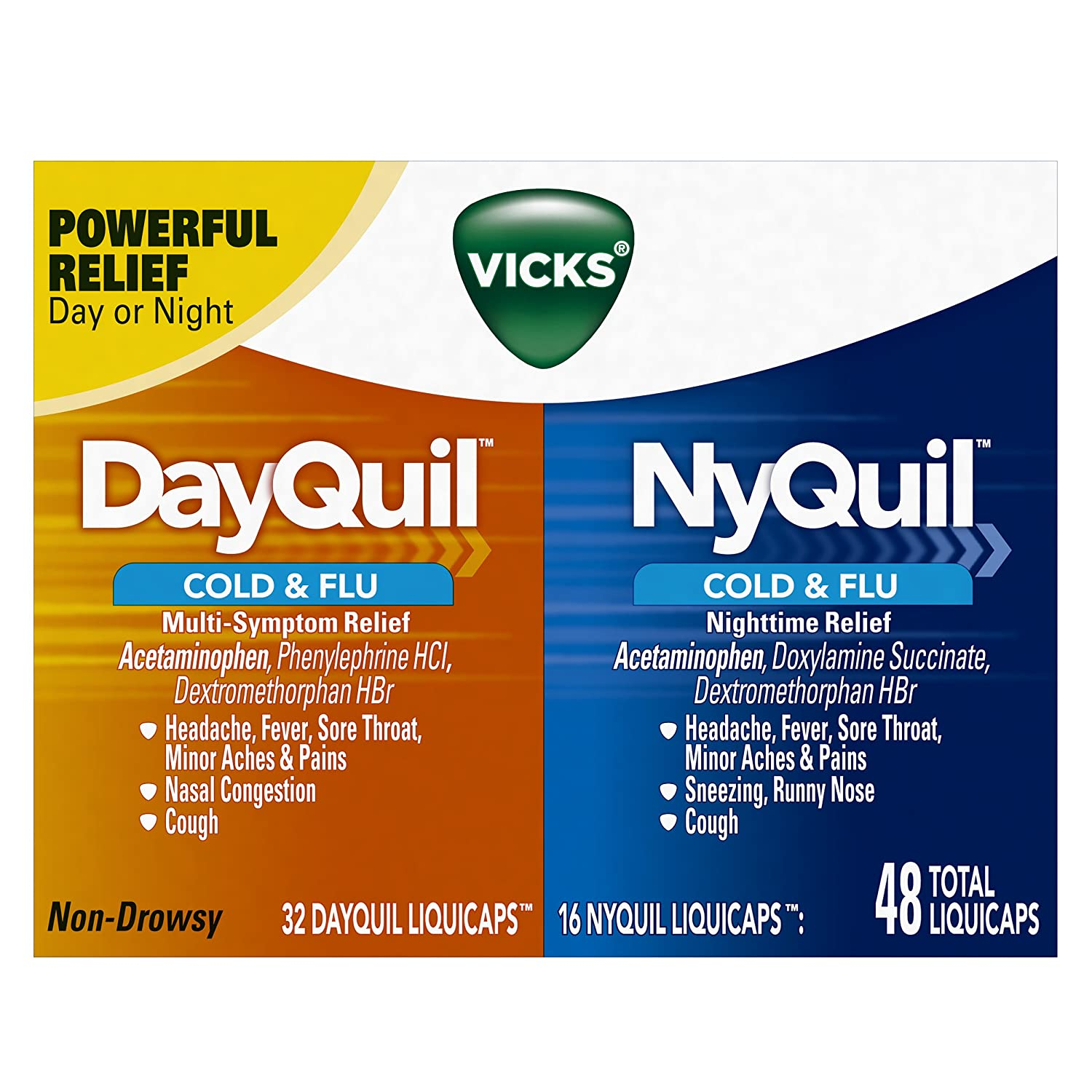 amazon com vicks dayquil and nyquil cough cold and flu relief 48 rh amazon com