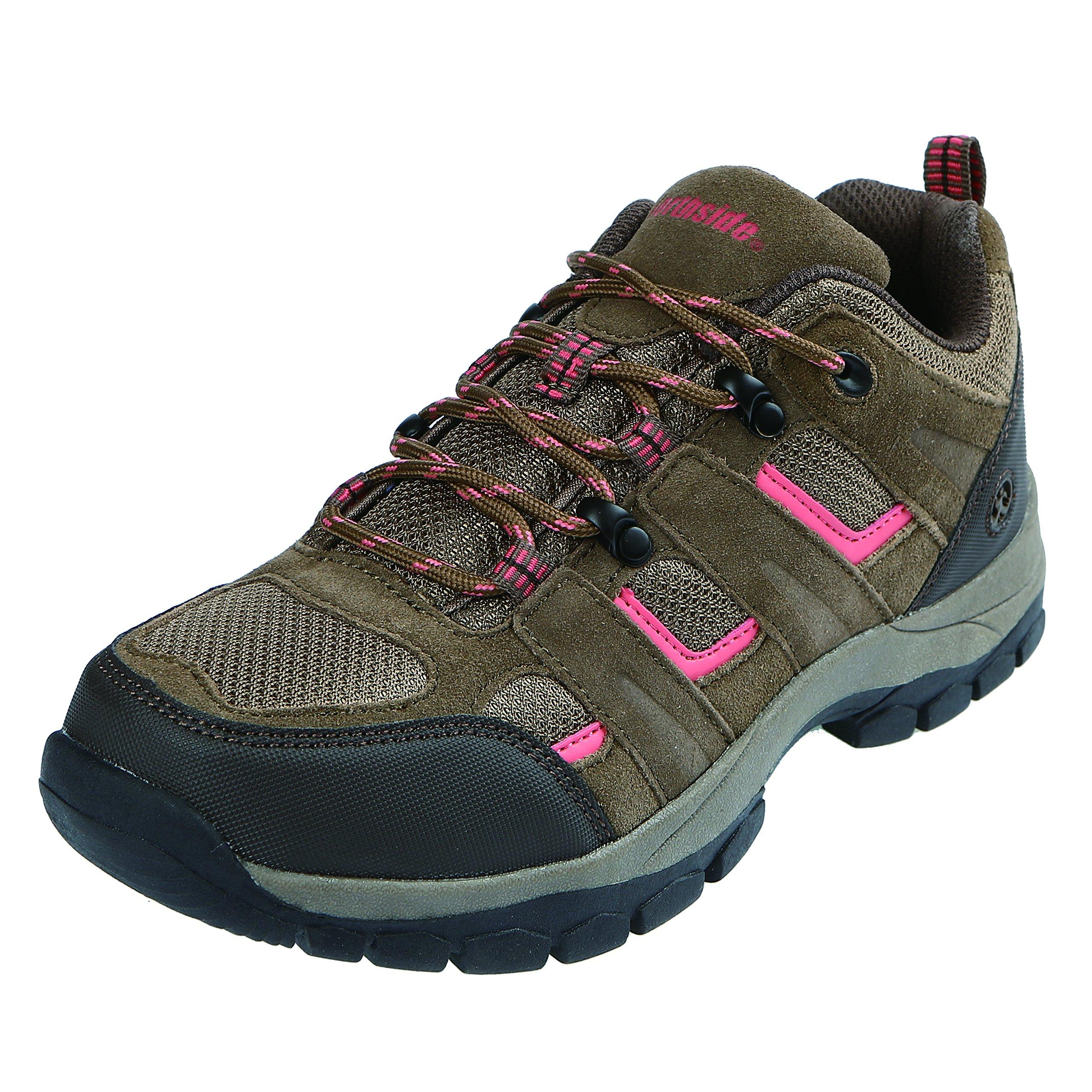 Northside Women's Monroe Low Hiking Shoe, Tan/Coral, Size 6 M US