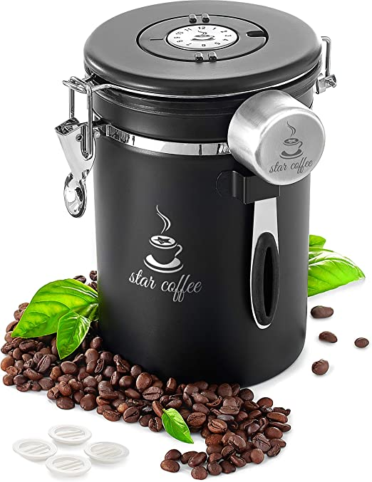 Star Coffee Container Airtight Coffee Storage - Stainless Steel Canister with Measuring Scoop for Beans or Ground Coffee, CO2 Valve Filters, Date Tracker, eBook, Large Coffee Holder 22oz, Black