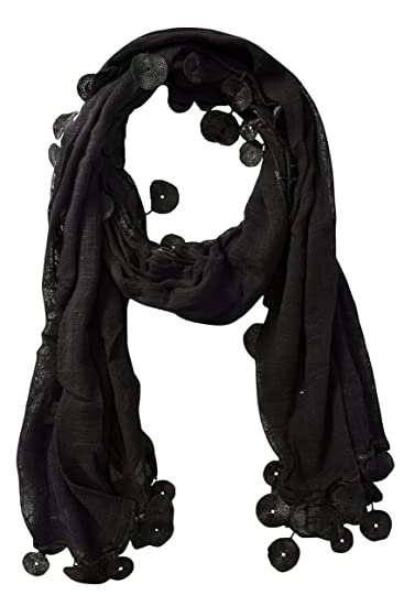 4714ed2fa Peach Couture Fashion Light Weight Silk Feel Sheer Textured Scarves with  Tassels Black Circle at Amazon Women's Clothing store: