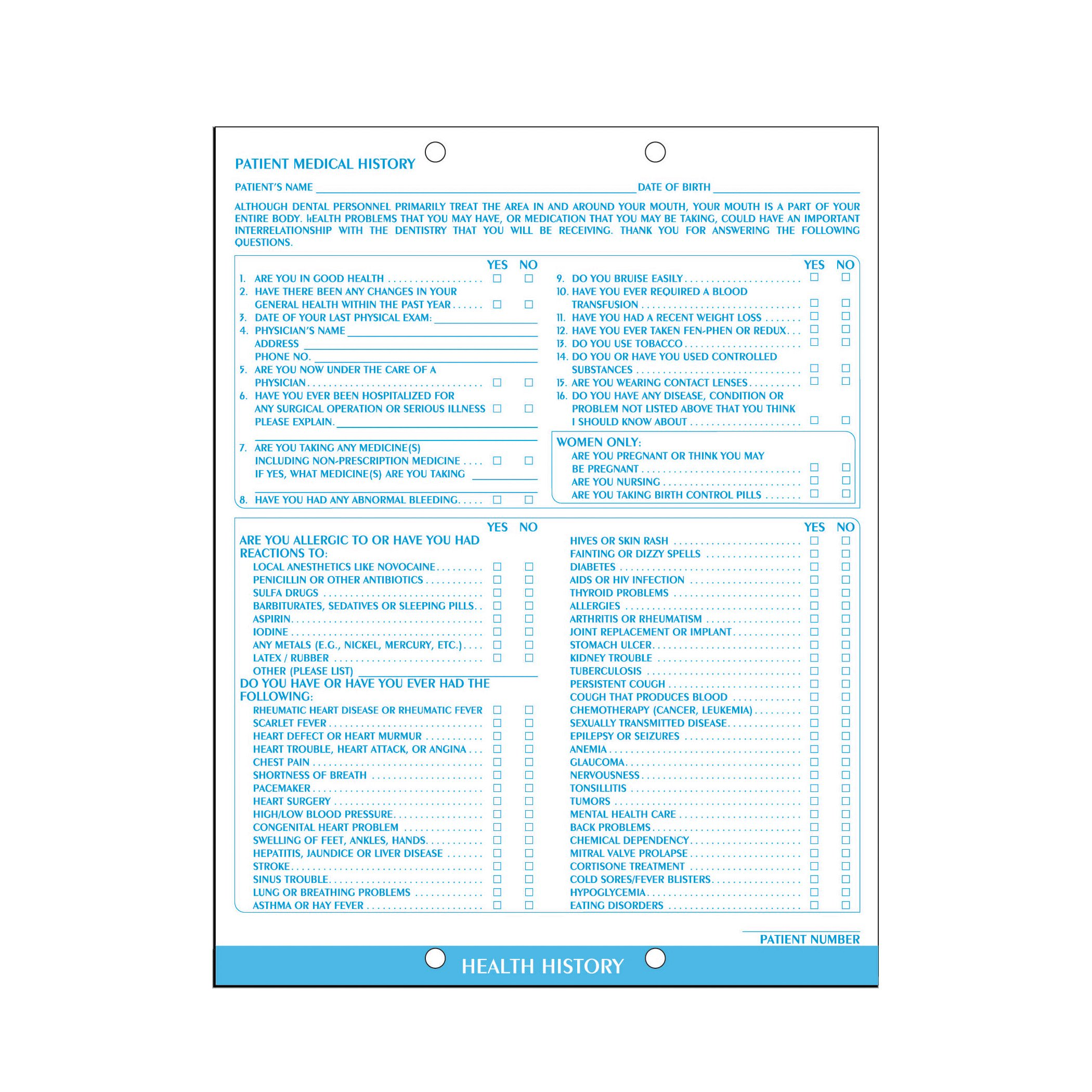 AMZfiling Dental Medical History Form (100/Package)