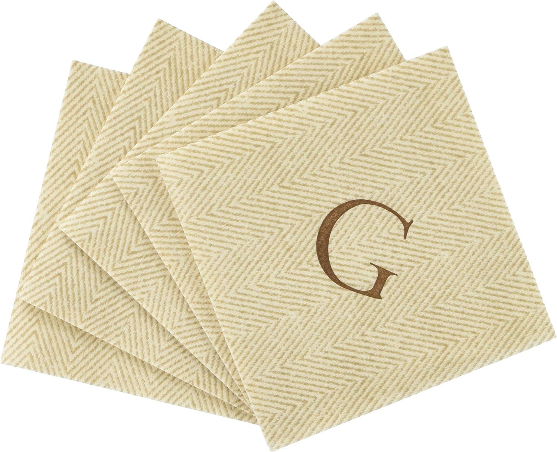 Entertaining with Caspari Jute Herringbone Paper Linen Cocktail Napkins, Monogram Initial G, Pack of 30