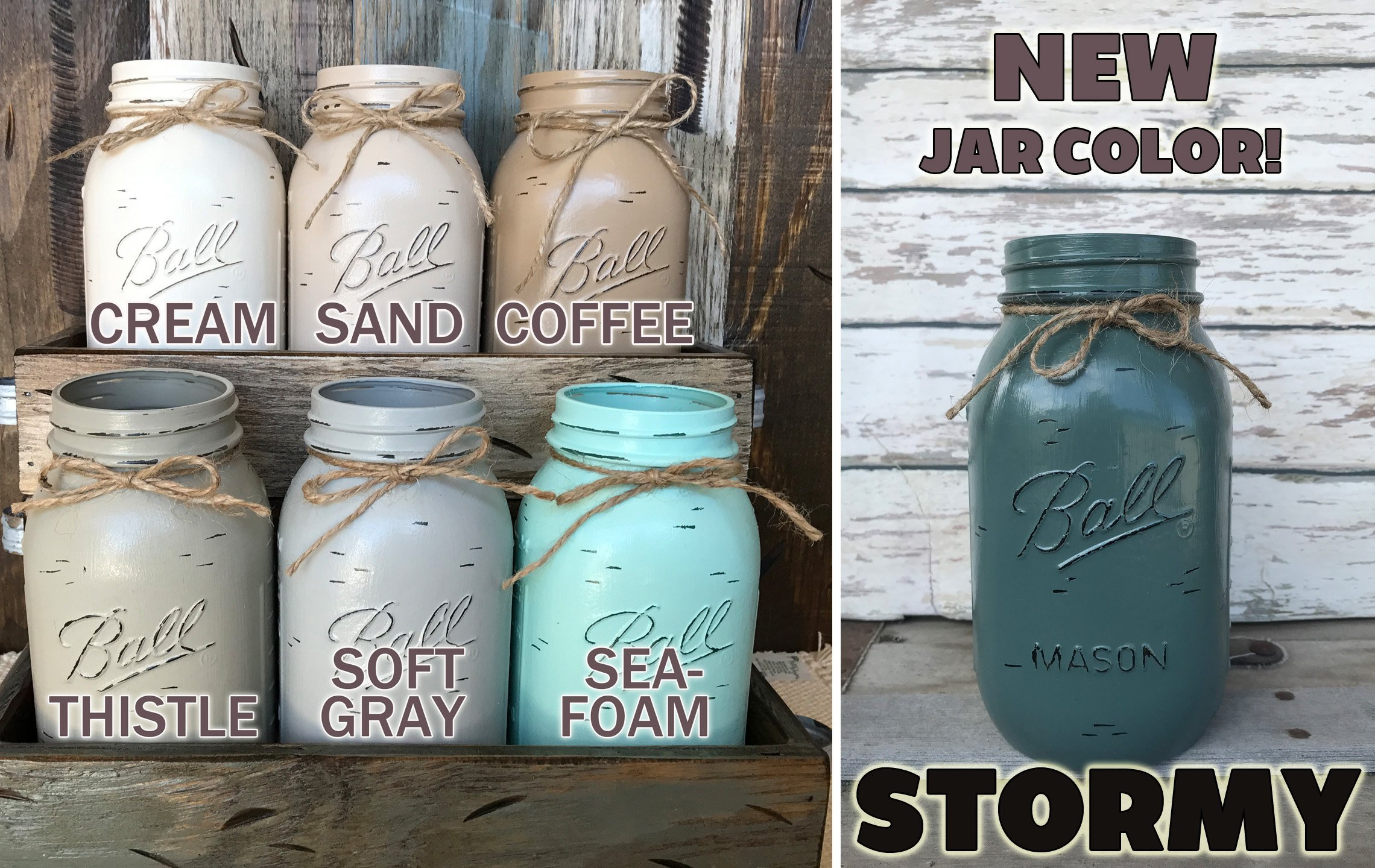 Mason Canning Jar Kitchen Farmhouse Table Centerpiece with 5 Hand Painted Ball QUART Jars in Distressed Wood Tray rusty handles *Antique White Red Brown Blue -BEAUTIFUL Hydrangea Flowers are optional by Wooden Hearts (Image #5)