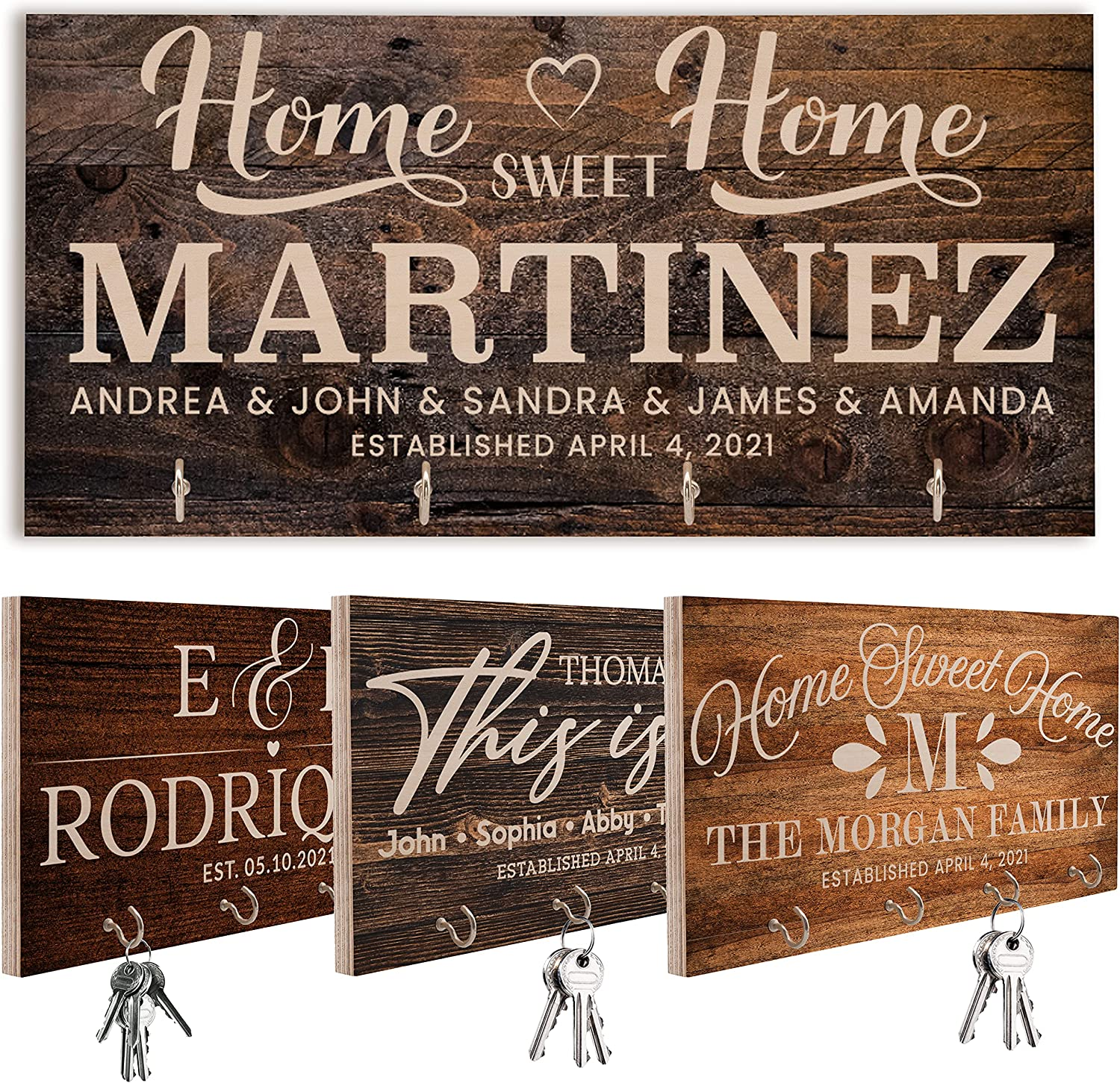 Personalized Key Hook for Wall - Cuztomized Wooden Key Hooks Decorative for Home Kitchen Farmhouse Decor - Custom Organizer Mother's Day Gift for Key Bill Glass Holder for Entryway Storage Hallway C01