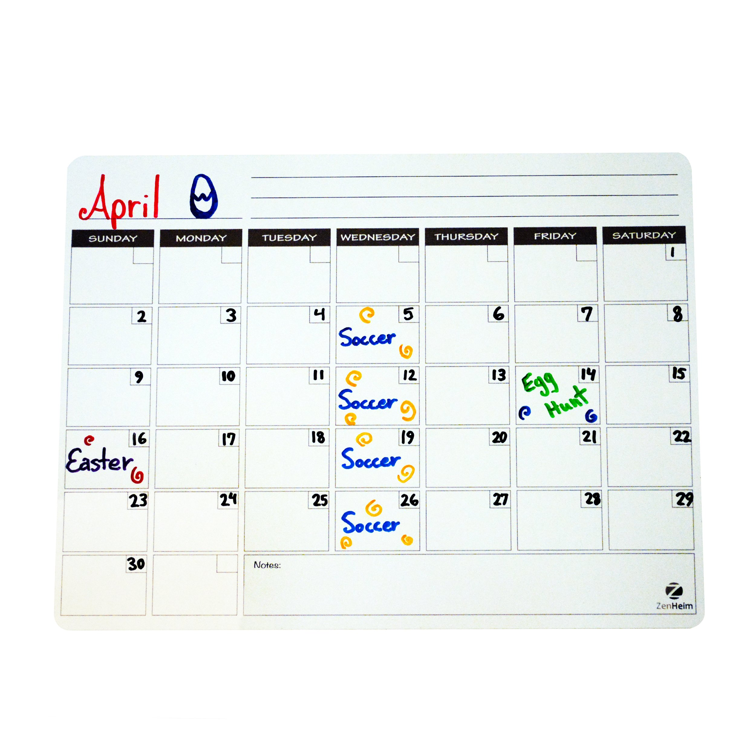 Magnetic Monthly Dry Erase Calendar Large 12'' x 16'' Size For Office Or Kitchen