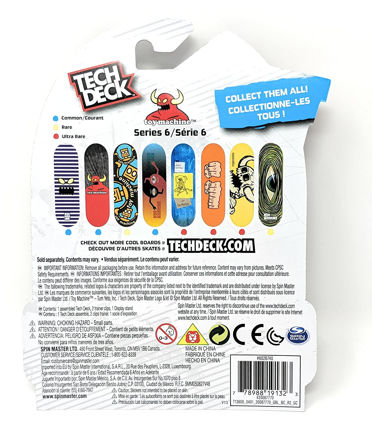 Amazon.com: Tech Deck Toy Machine Skateboards Series 6 Sect Yin Yang Fingerboard - Starter Board with Trainer Clips: Toys & Games