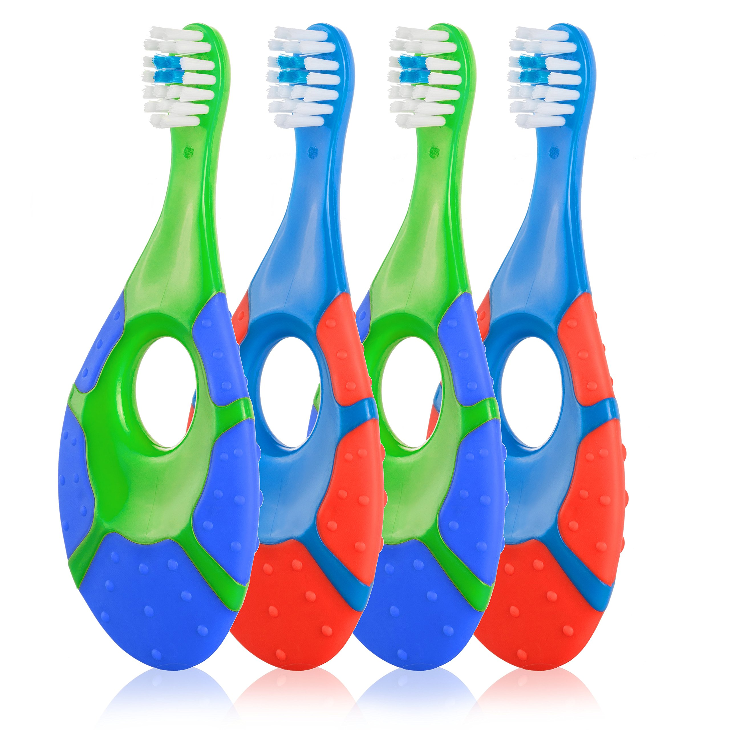 Baby Infant to Toddler Teething Toothbrush - Farber Baby - BPA Free with Gum Massaging Finger Handle and Soft Bristles, 0-2 Years (4 Pack) - Boy Pack