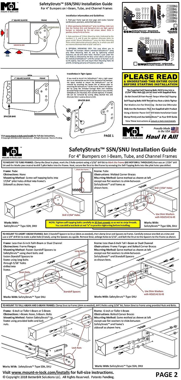 Mount N Lock Safetystruts Prevent Rv Bumper Failure Tm 7 Wire Trailer Plug Wiring Diagram Tail Snu Universal Black Automotive