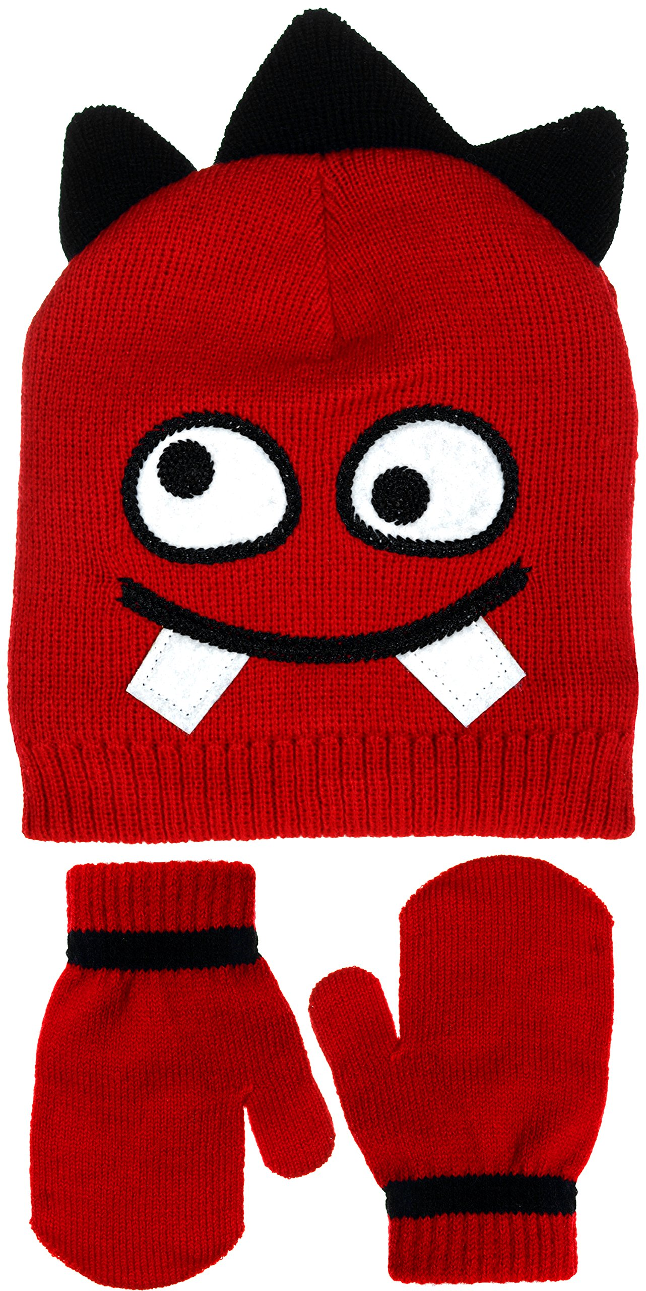 Little Boys Goofy Monster Face Knit Beanie & Mittens Set in Blue or Red (Red)