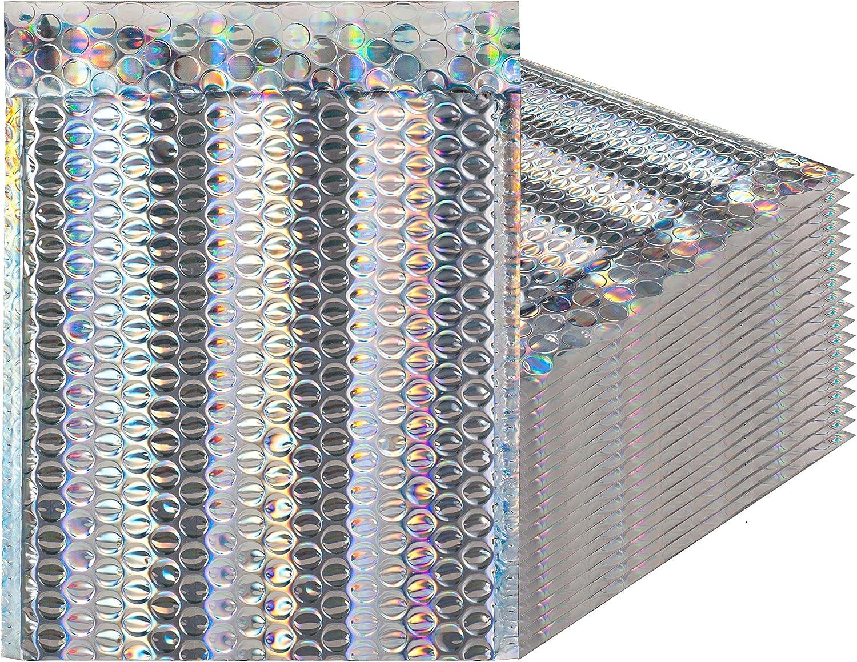 Glamour holográfica burbuja sobres. Paquete de 20 sobres acolchados tamaño 7 1/2 x 9 (7 x 9). Espacio utilizable 6 1/2 x 9 (6 x 9). peel-n-seal espejo ...