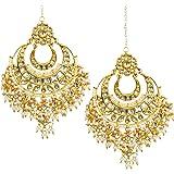 Jewellity Kundan And Pearl Chandbalis Dangle And Drop Earrings With Kundan And Pearl Droppings For Women - ERK-519
