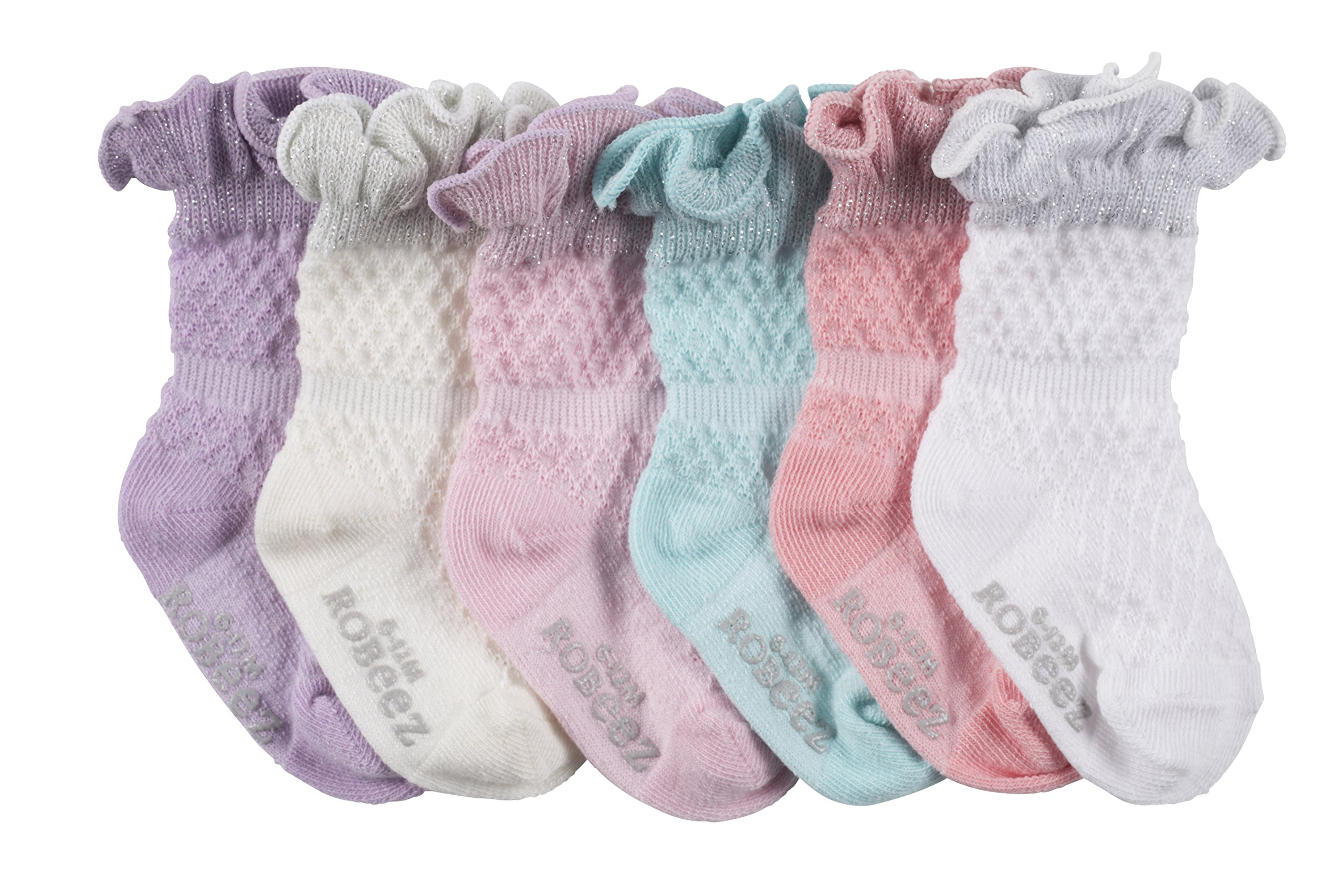 Robeez Baby 6pk Girls Pretty in Lace, sparkle/assorted Pastels, 6-12 Months by Robeez