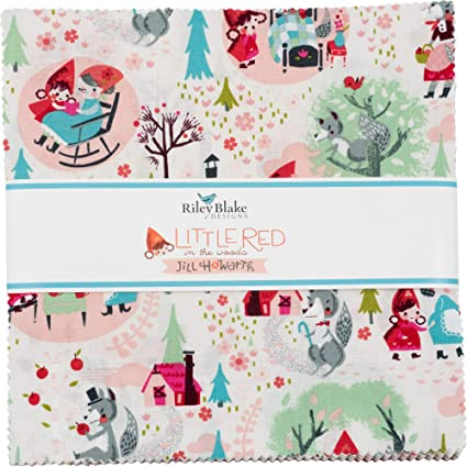 RED BLUE Fat Quarter//Square100/% Cotton Fabric FQRed Riding Hood Children