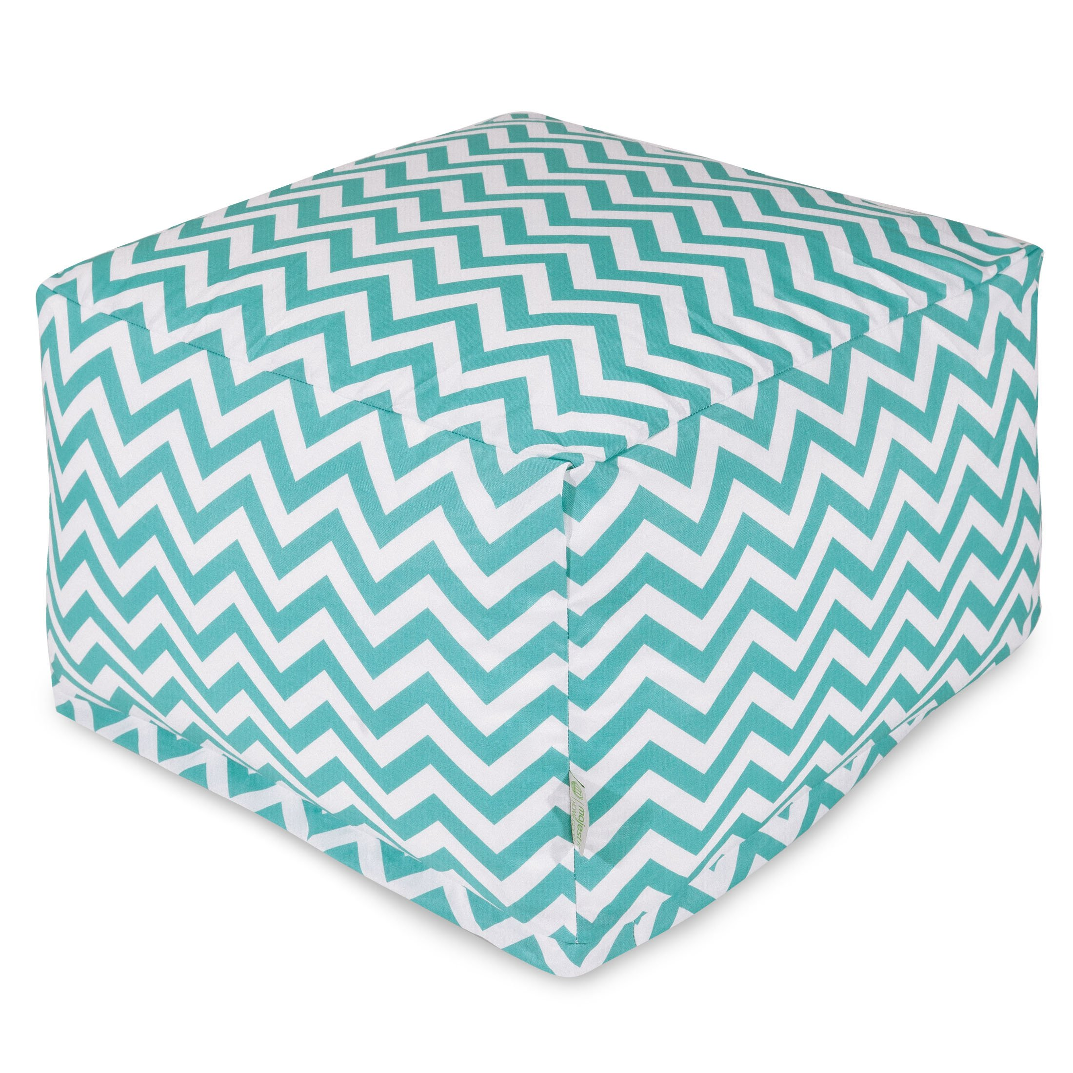 Majestic Home Goods Chevron Ottoman, Large, Teal by Majestic Home Goods (Image #1)