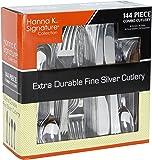 Plastic Cutlery Silverware Heavyweight Disposable Flatware, Plastic Cutlery Like Silver Combo Pack 144 pieces - 36 of each Fork, Knife, Teaspoon, Soup spoon
