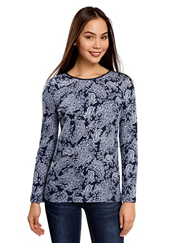 oodji Collection Mujer Camiseta de Manga Larga Estampada