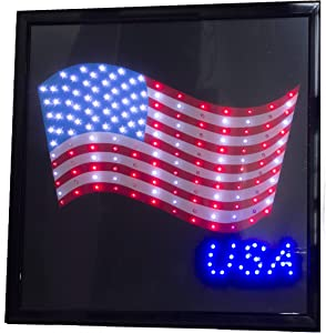 "Printed American Flag USA 19"" x 19"" LED Sign with Hang Chain"