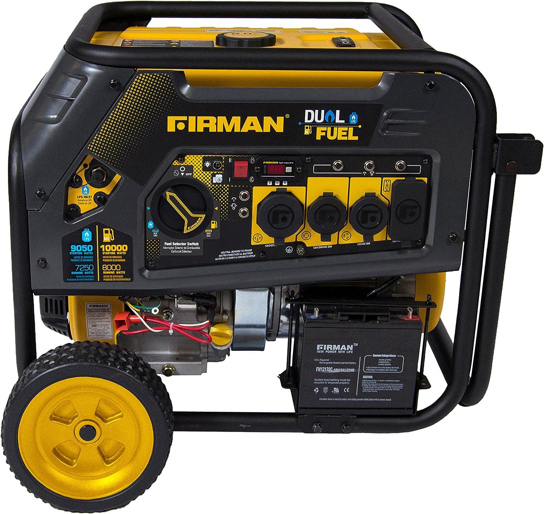 Firman H08051 10000//8000 Watt 120//240V 30//50A Electric Start Gas or Propane Dual Fuel Portable Generator CARB Certified