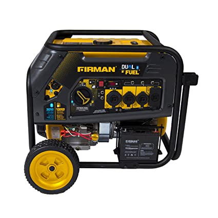 Firman H08051 10000/8000 Watt 120/240V 30/50A Electric Start Gas or Propane  Dual Fuel Portable Generator CARB Certified