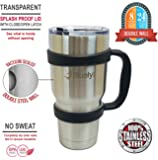 Thermal mug, Vacuum Insulated Double Wall Stainless Steel Ceramic Coffee Travel Mug with Handle and Splash Proof Lid. Keep your Drinks Hot or Cold for hrs.
