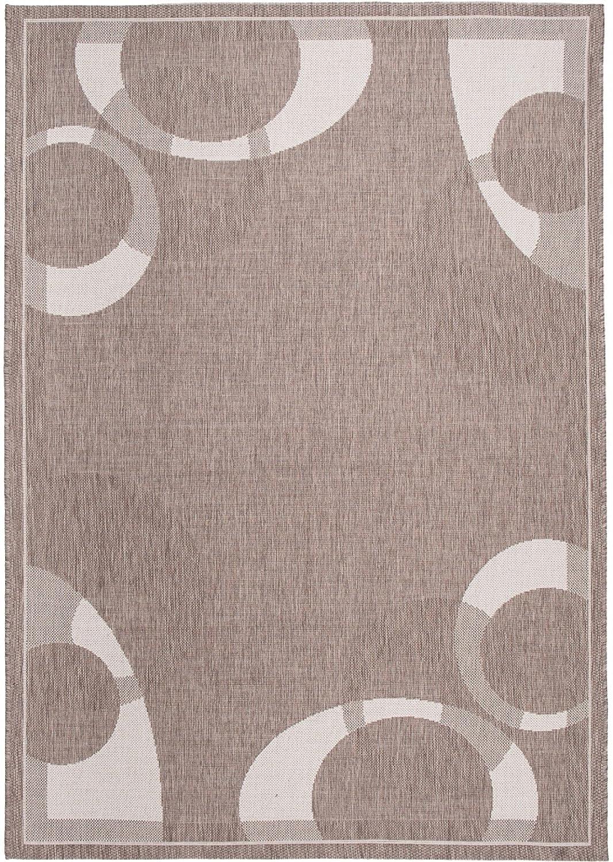 Tapiso FLOORLUX Teppich Flachgewebe Strapazierfähig Sisal Optik Hellbraun Beige Creme Abstrakt Kreise Muster Bordüre Designer Küche 160 x 230 cm