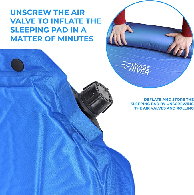 Lightweight Memory Foam with Pillow OSAGE RIVER Self Inflating Sleeping Pad for Camping and Backpacking