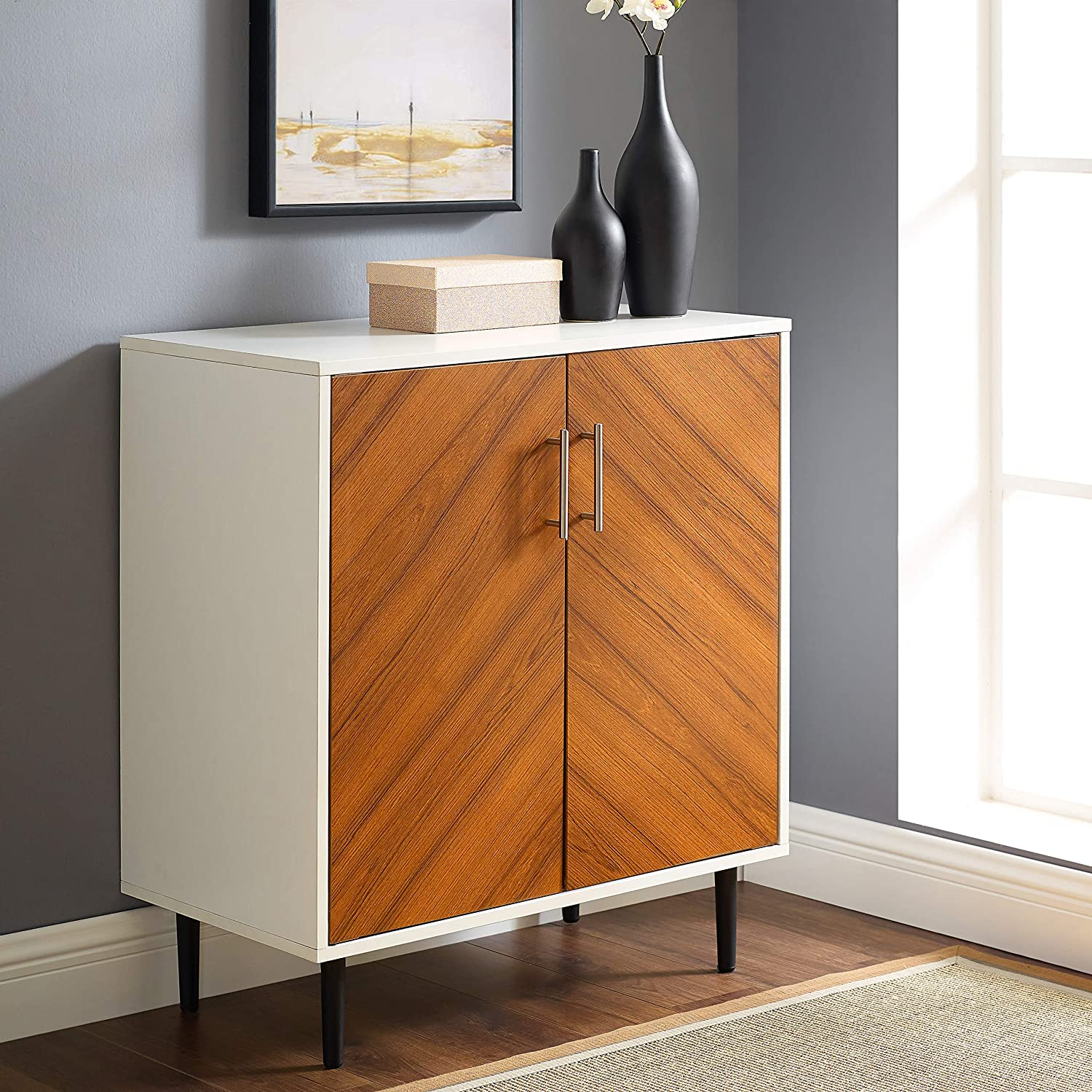 Walker Edison Furniture Company Mid Century Modern Bookmatched Kitchen Buffet Accent Entryway Bar Cabinet Storage Entry Table Living Dining Room, 28 Inch, White