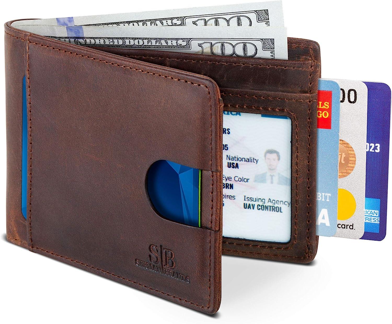 New RFID Blocking Slim Bifold Soft Genuine Leather Minimalist Pocket Wallet-Men